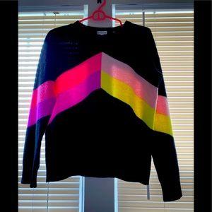 Minnie Rose chevron cashmere sweater size small